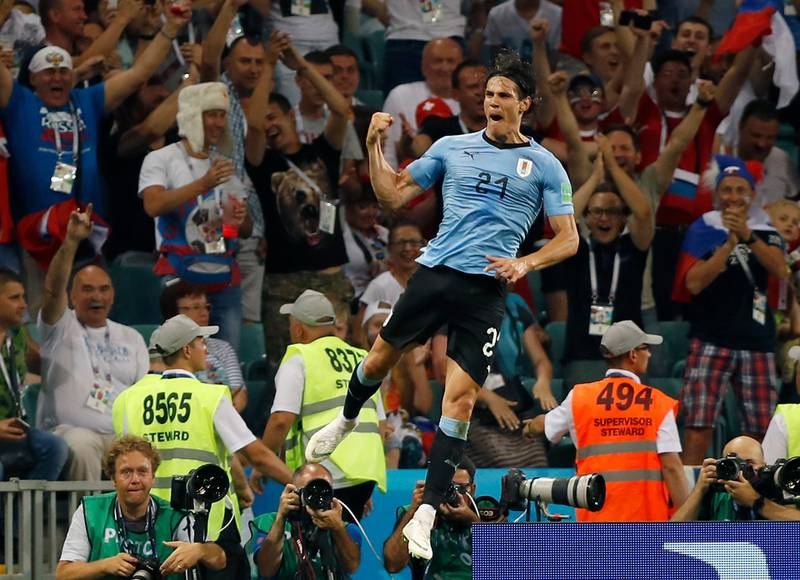 Uruguay's Edinson Cavani celebrates after scoring his second goal during the round of 16 match between Uruguay and Portugal at the 2018 soccer World Cup at the Fisht Stadium in Sochi, Russia, Saturday, June 30, 2018. (AP Photo/Francisco Seco)