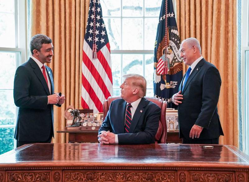 UAE Foreign Minister Abdullah bin Zayed, US President Donald Trump and Israeli Prime Minister Benjamin Netanyahu at the Oval Office. Courtesy MOFAIC