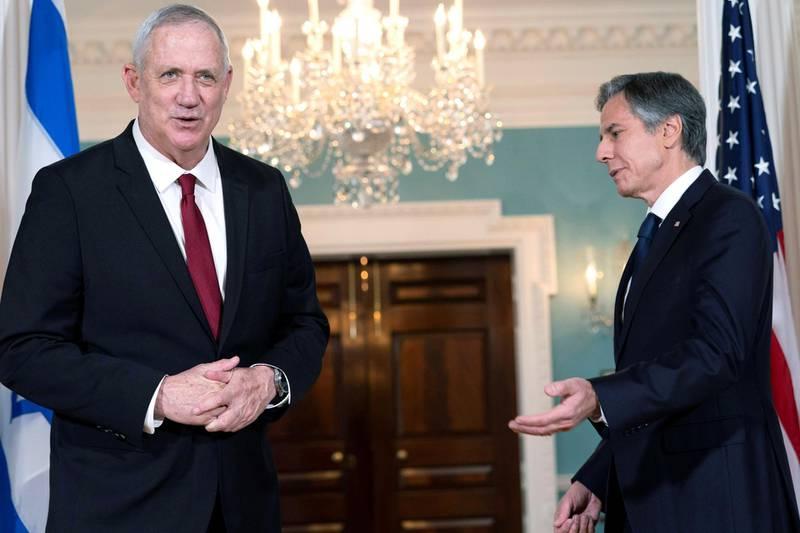 U.S. Secretary of State Antony Blinken talks with  Israel's Defense Minister Benny Gantz, at the State Department in Washington, U.S., June 3, 2021. Jacquelyn Martin/Pool via REUTERS