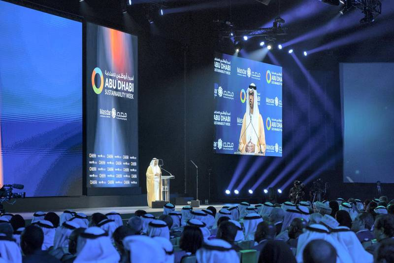 ABU DHABI, UNITED ARAB EMIRATES - January 14, 2019: HE Dr Sultan Ahmed Al Jaber, UAE Minister of State, Chairman of Masdar and CEO of ADNOC Group (C), delivers the welcoming speech during the opening ceremony of the World Future Energy Summit 2019, part of Abu Dhabi Sustainability Week, at Abu Dhabi National Exhibition Centre (ADNEC).  ( Mohamed Al Hammadi / Ministry of Presidential Affairs ) ---