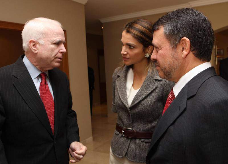 AMMAN, JORDAN - MARCH 18:  In this image released by the Jordan Royal Palace, King Abdullah II of Jordan (R) and his wife Queen Rania (C) U.S. presidential hopeful Sen. John McCain (R-AZ) at the Royal Palace March 18, 2008 in Amman, Jordan. McCain, the likely Republican nominee for the U.S. presidential elections this year, said Tuesday that any hasty pullout from Iraq would be a mistake that would favor Iran and al-Qaida. (Photo by Jordanian Royal Court via Getty Images)