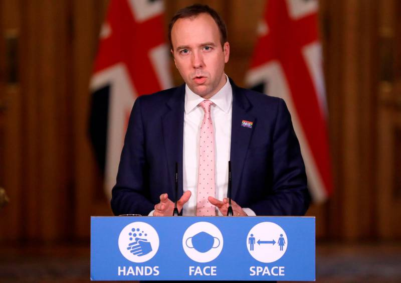 Britain's Health Secretary Matt Hancock attends a remote press conference to update the nation on the status of the Covid-19 pandemic, inside 10 Downing Street in central London on December 23, 2020.  / AFP / POOL / Kirsty Wigglesworth