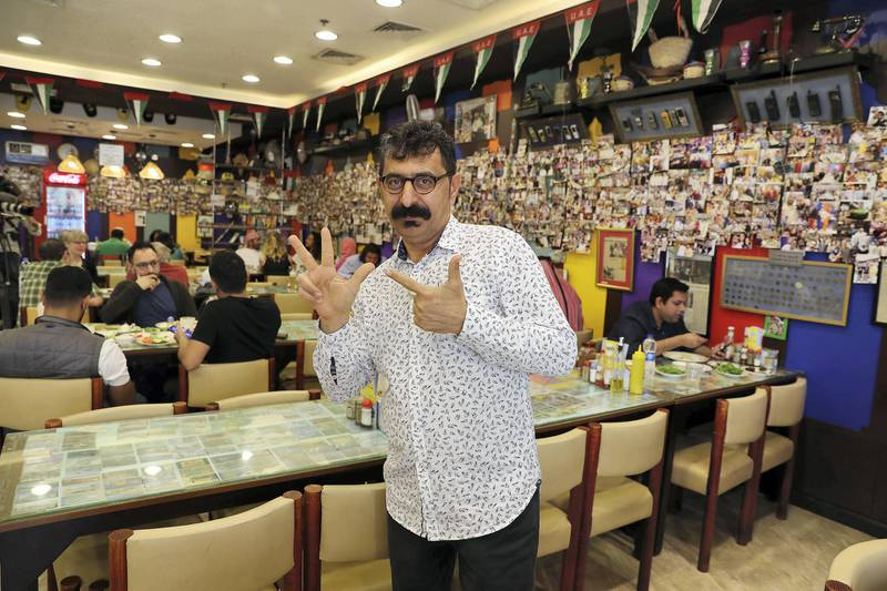 DUBAI , UNITED ARAB EMIRATES , January 9 ��� 2019 :- Majeed Al Ustad , owner at the Ustad Special Kabab Iranian restaurant in Bur Dubai in Dubai. ( Pawan Singh / The National ) For News. Story by Nick Webster