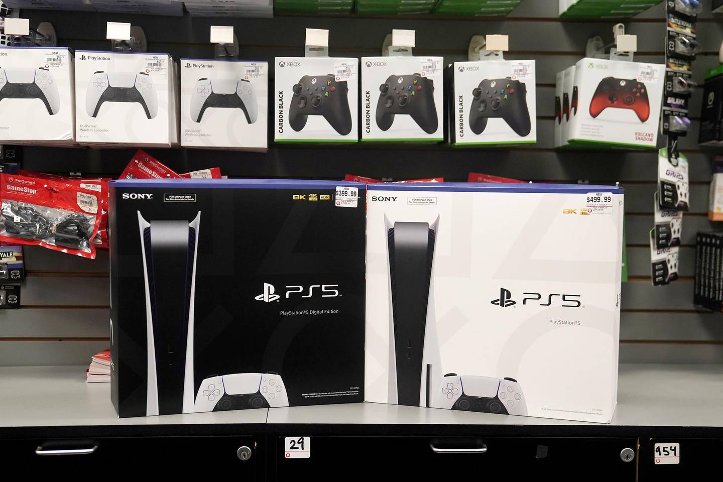 Inside a GameStop store Sony PS5 gaming consoles are pictured in the Manhattan borough of New York City, New York, U.S., November 12, 2020. REUTERS/Carlo Allegri