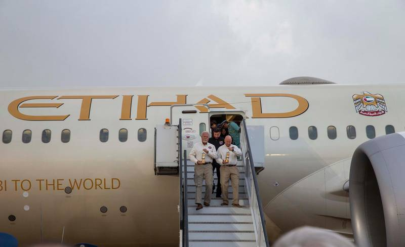 The World Games Flame of Hope arrives in Abu Dhabi from Athens, carried by the national airline of the UAE, Etihad Airways. Courtesy Etihad