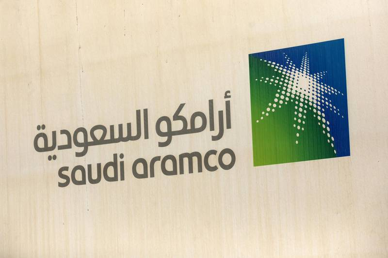 A logo sits on display at the site of a construction project at the Saudi Aramco oil company's compound in Dhahran, Saudi Arabia, on Wednesday, Oct. 3, 2018. Speculation is rising over whether Saudi Arabia will break with decades-old policy by using oil as a political weapon, as it vowed tohit backagainst any punitive measures after the disappearance of government criticJamal Khashoggi. Photographer: Simon Dawson/Bloomberg