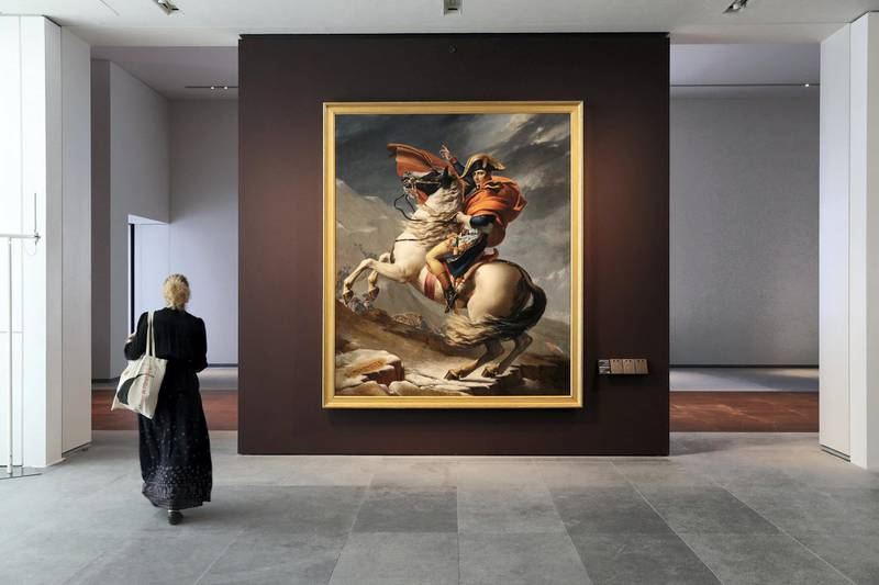 Abu Dhabi, United Arab Emirates - November 6th, 2017: Piece: Napoleon Bonaparte 1st consul crossing the alps on 20 May 1800 at the Louvre. Louvre Media Day. Monday, November 6th, 2017 at Louvre, Abu Dhabi. Chris Whiteoak / The National