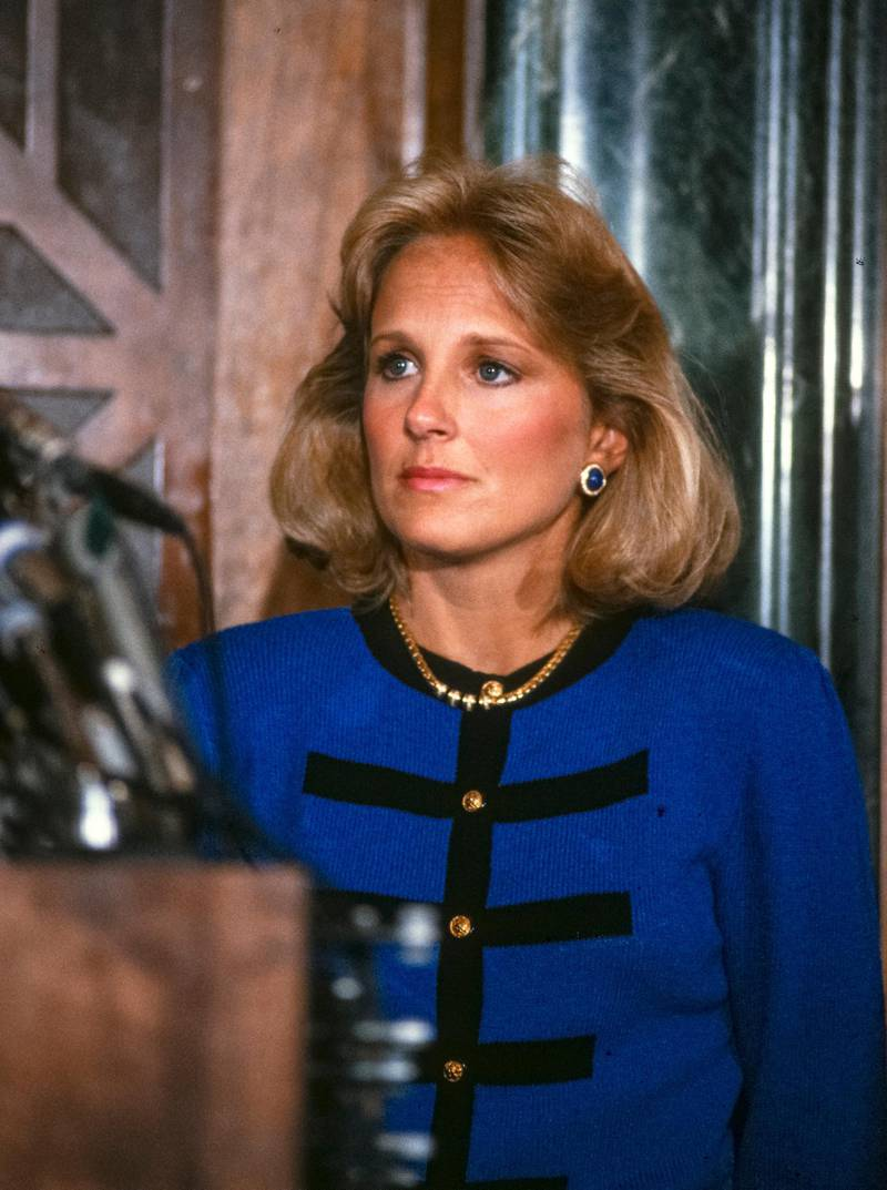 Close-up of American school teacher Jill Biden during a press conference, Washington DC, September 23, 1987. At the conference, her husband, Senator Joseph Biden, announced his withdrawal from the race for the Democratic Party nomination's for President of the United States. (Photo by Arnie Sachs/CNP/Getty Images)