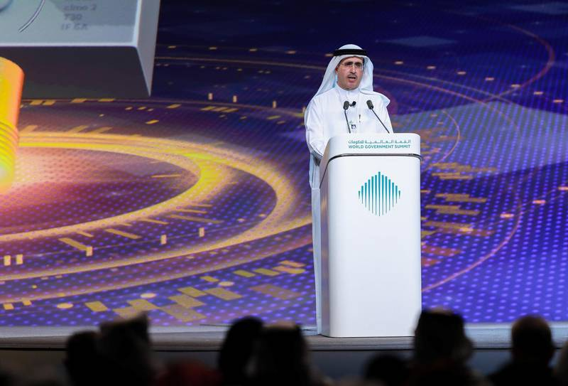 Dubai, U.A.E., February 11, 2019. World Government Summit day 2-DXB.--  The Future Global Water Security and Sustainability:  Saeed Mohammed Al Tayer, Managing Director and CEO, Dubai Electricity and Water Authority (DEWA), UAE.Victor Besa/The NationalSection:  NAReporter: