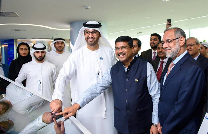 H.E. Dr. Sultan Ahmed Al Jaber, UAE Minister of State and ADNOC Group CEO, at the loading of The historic first cargo of crude oil from the Abu Dhabi National Oil Company (ADNOC), destined for the Indian Strategic Petroleum Reserves Ltd (ISPRL). Courtesy Adnoc