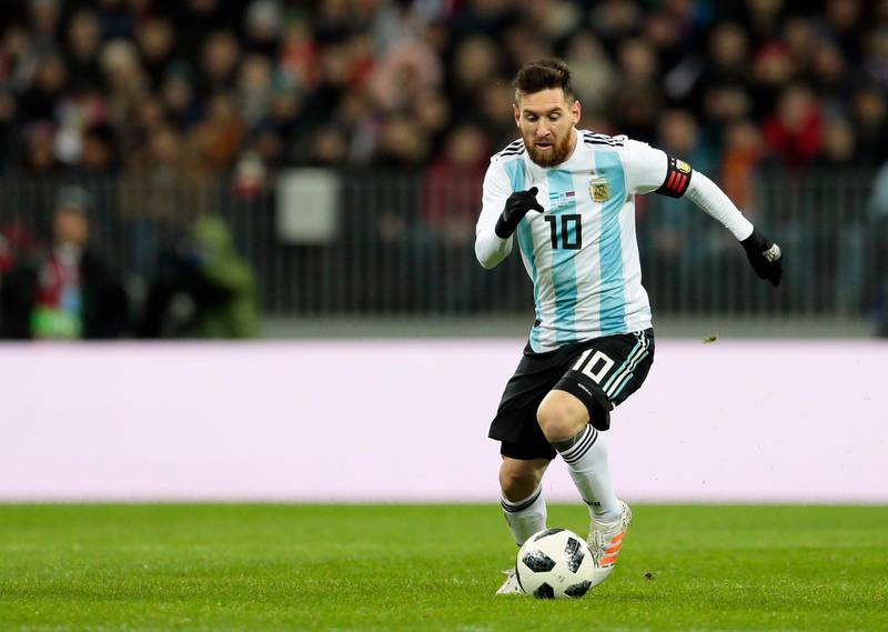 FILE - In this Saturday, Nov. 11, 2017 filer, Argentina's Lionel Messi controls the ball during the international friendly soccer match between Russia and Argentina at Luzhniki stadium in Moscow. (AP Photo/Ivan Sekretarev, File)