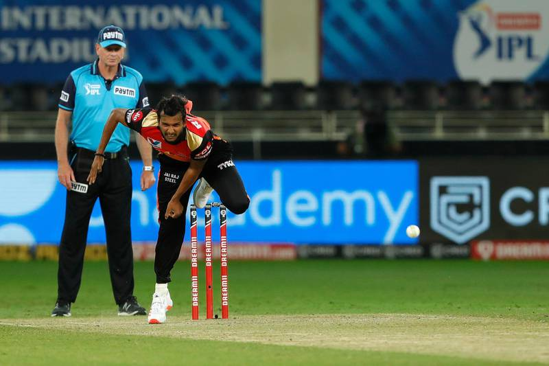 T Natarajan of Sunrisers Hyderabad bowling during match 43 of season 13 of the Dream 11 Indian Premier League (IPL) between the Kings XI Punjab and the Sunrisers Hyderabad held at the Dubai International Cricket Stadium, Dubai in the United Arab Emirates on the 24th October 2020.  Photo by: Saikat Das  / Sportzpics for BCCI