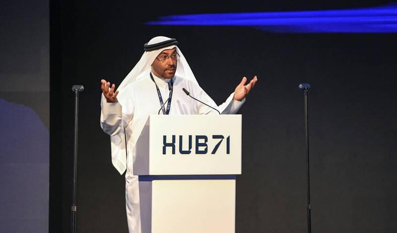 Abu Dhabi, United Arab Emirates - H.E. Ahmed Ali Al Sayegh, Minister of State and Chairman Abu Dhabi Global Market speaks at the launch of Hub71 at Rosewood Hotel, Al Maryah Island. Khushnum Bhandari for The National