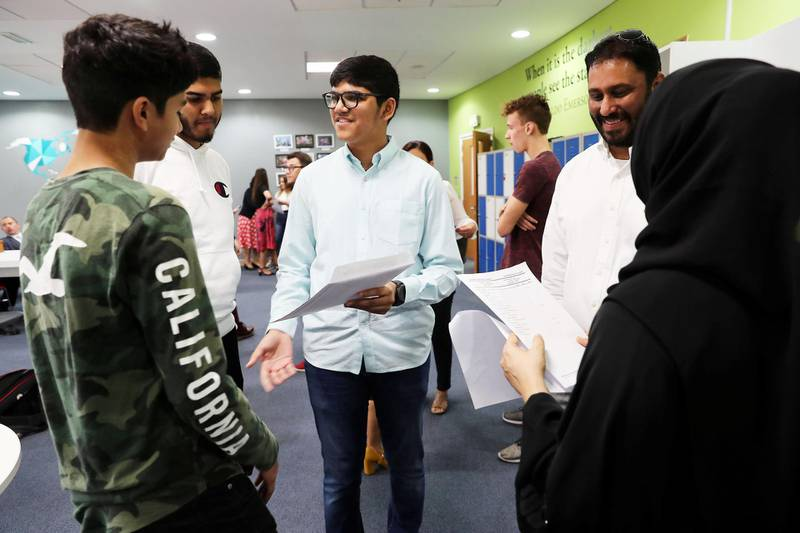 ABU DHABI ,  UNITED ARAB EMIRATES , AUGUST 22 – 2019 :- Students receiving their GCSE results at the Brighton College in Abu Dhabi. ( Pawan Singh / The National ) For News. Story by Kelly