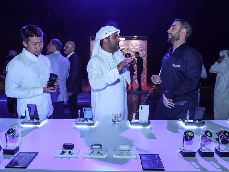 Dubai, United Arab Emirates, August 27, 2019.  Samsung Galaxy Note 10 Launch. --  Visitors check out the Galaxy 10 + phone. Victor Besa/The NationalSection:  BZReporter:  Alkesh Sharma