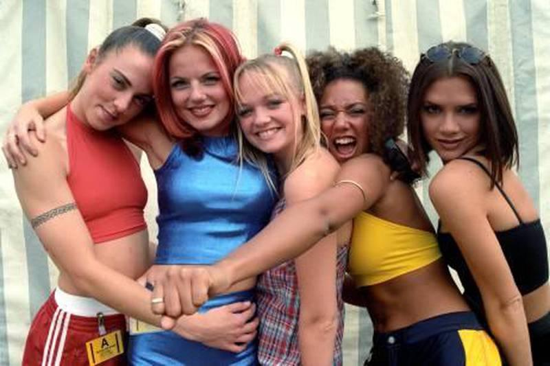 The Spice Girls. (L-R) Sporty (Melanie Chisholm), Ginger (Geri Halliwell), Baby (Emma Bunton), Scary (Melanie Brown), Posh (Victoria Beckham) ... 11-11-1996 ... Photo by: John Mather/EMPICS Entertainment.URN:5296725