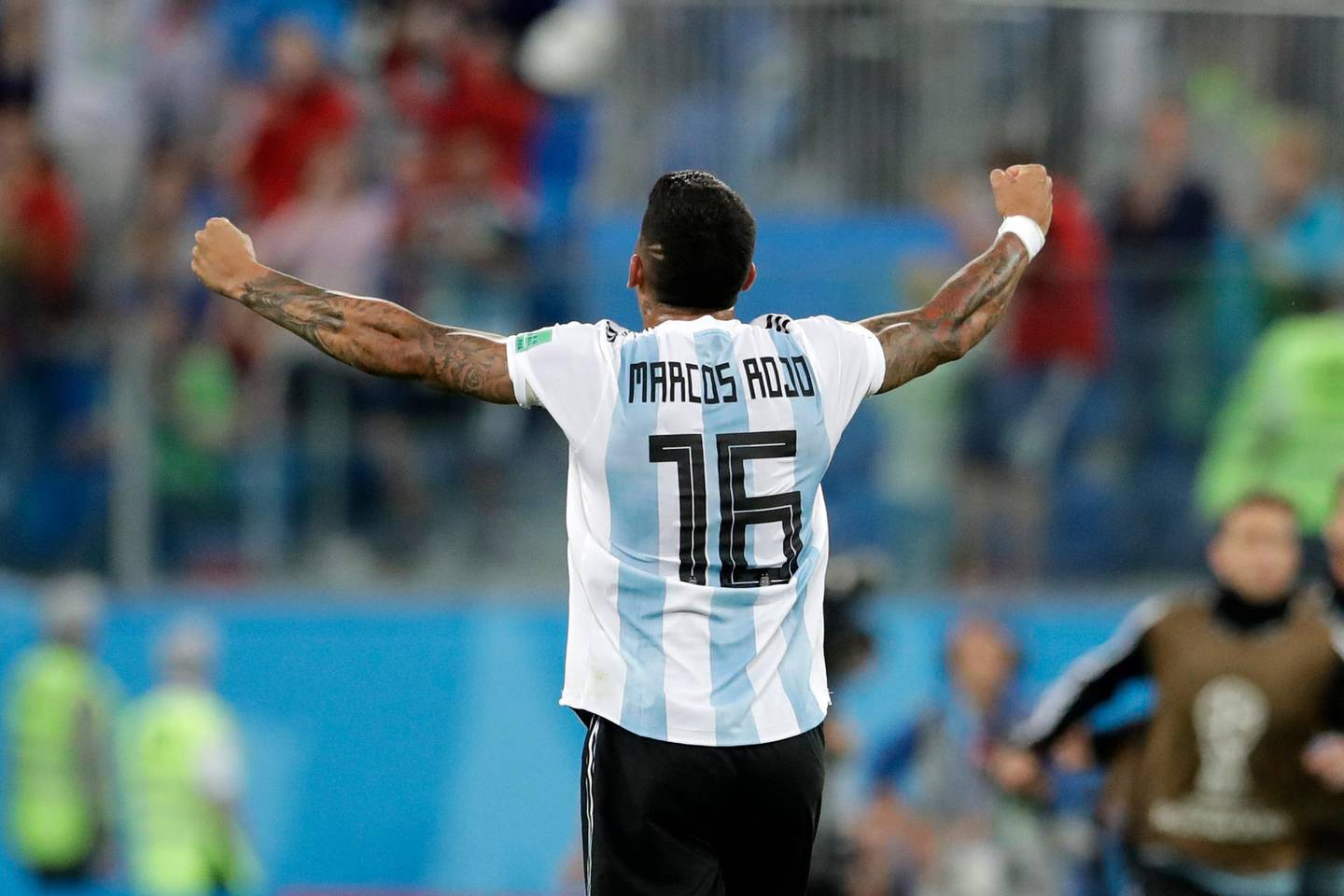 Argentina's Marcos Rojo, scorer of the second goal, reacts after the final whistle of the group D match between Argentina and Nigeria, at the 2018 soccer World Cup in the St. Petersburg Stadium in St. Petersburg, Russia, Tuesday, June 26, 2018. Argentina won 2-1. (AP Photo/Petr David Josek)