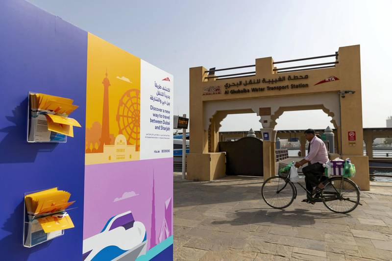 Dubai & Sharjah, United Arab Emirates - July 28, 2019: New Dubai-Sharjah commuter ferry is launched. Al Ghubaiba Water Transport Station. Sunday the 28th of July 2019. Chris Whiteoak / The National