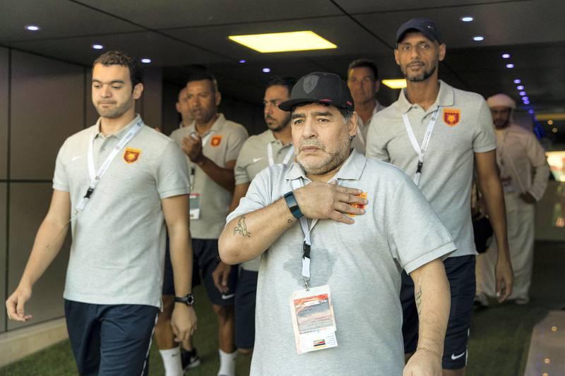 Fujairah, United Arab Emirates, November 4, 2017:    Diego Maradona, head coach of Fujairah football club, arrives to their game against Al Orouda ahead of their UAE first division regular season match at the Fujairah stadium in Fujairah on November 4, 2017. Christopher Pike / The NationalReporter: John McAuleySection: Sport