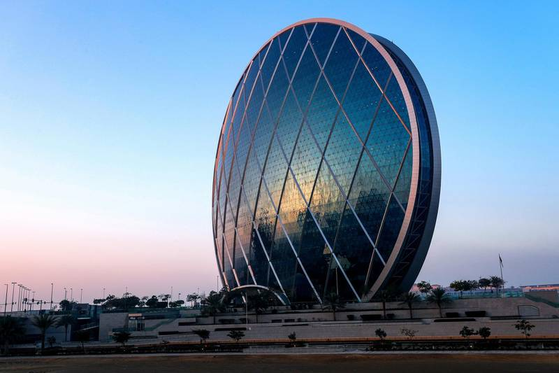 Abu Dhabi, United Arab Emirates, February 15, 2021.  Stock Images, Aldar Headquarters, Al Bandar on a cold morning.Victor Besa/The NationalSection: Standalone/Stock