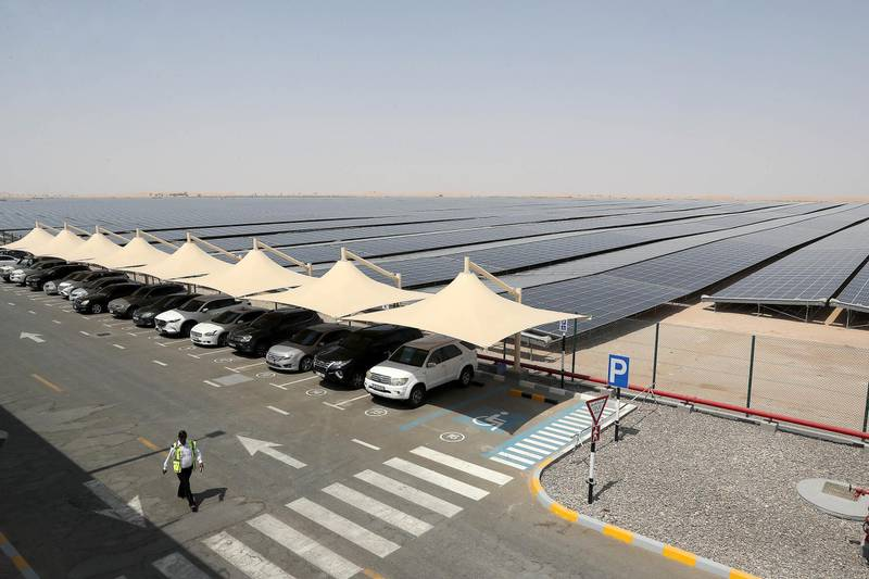 ABU DHABI,  UNITED ARAB EMIRATES , OCTOBER 1 – 2019 :- View of the Noor Solar Power Plant in Sweihan in Abu Dhabi. ( Pawan Singh / The National ) For News. Story by Daniel