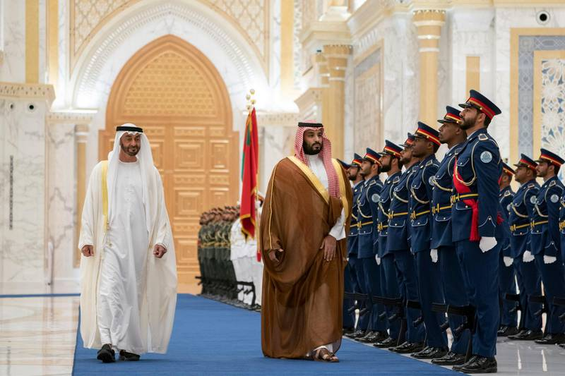 Mohammed bin Salman arrives at Qasr Al Watan in Abu Dhabi, where he is accorded an official reception. From MBZ's twitter