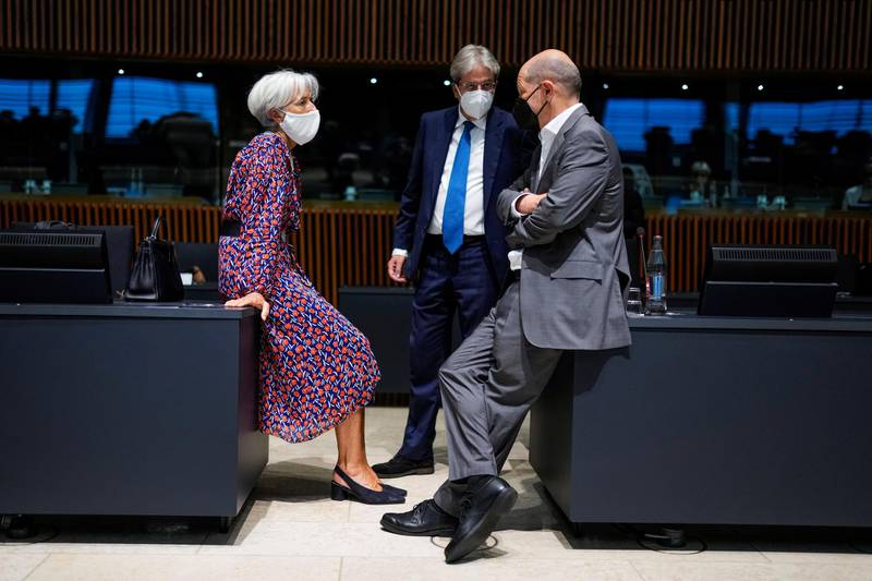 European Central Bank President Christine Lagarde talks to European Commissioner for Economy Paolo Gentiloni, and German Finance Minister Olaf Scholz, during a meeting of Eurogroup Finance Ministers at the European Council building in Luxembourg, Luxembourg June 17, 2021. Francisco Seco/Pool via REUTERS