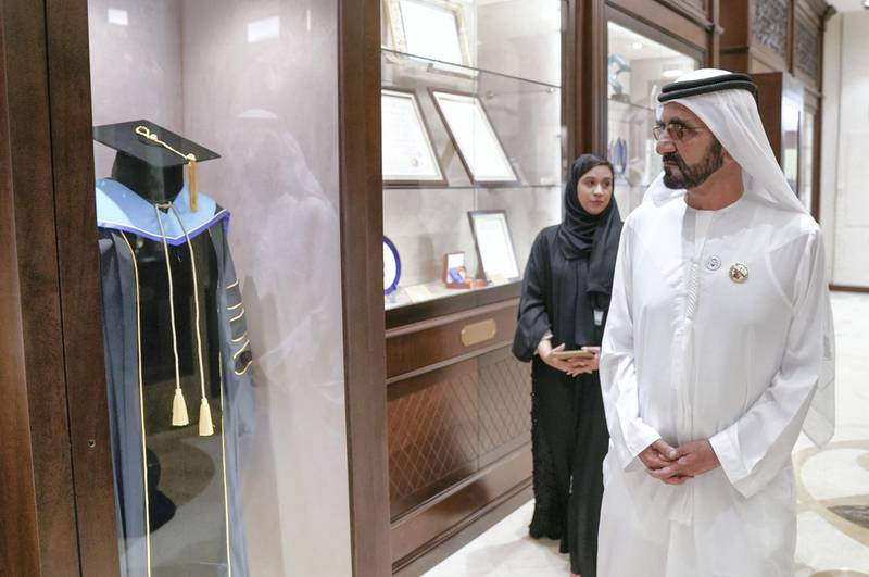 Vice President, Prime Minister of the UAE and Ruler of Dubai, Sheikh Mohammed bin Rashid, visited today the headquarters of the General Women���s Union, GWU, and attended the launch of national initiatives honouring and documenting the achievements of Emirati women. Sheikh Mohammed bin Rashid was accompanied by Sheikh Hamdan bin Rashid Al Maktoum, Deputy Ruler of Dubai and Minister of Finance; Lt. General Sheikh Saif bin Zayed Al Nahyan, Deputy Prime Minister and Minister of the Interior; Sheikh Mansour bin Zayed Al Nahyan, Deputy Prime Minister and Minister of Presidential Affairs; and Sheikh Nahyan bin Mubarak Al Nahyan, Minister of Tolerance, and several ministers. Dubai Media Office / Wam