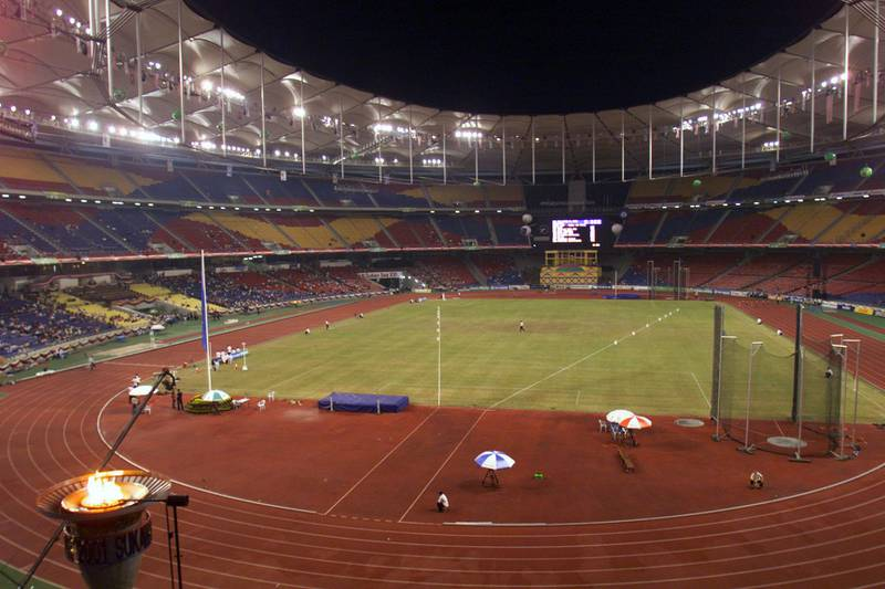 13 Sep 2001: General View of the National Stadium, Bukit Jalil, Kuala Lumpur, Malaysia during the Track and field Event of the 21st South East Asian Games. The Stadium is almost deserted. DIGITAL IMAGE. Mandatory Credit: Stanley Chou/ALLSPORT