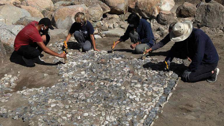 An image that illustrates this article Archaeologists unearth a 3,500-year-old mosaic in Turkey - in pictures