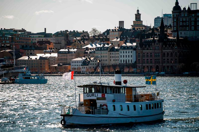 Sodermalm is seen in the background on April 2, 2020 in Stockholm, Sweden. / AFP / Jonathan NACKSTRAND