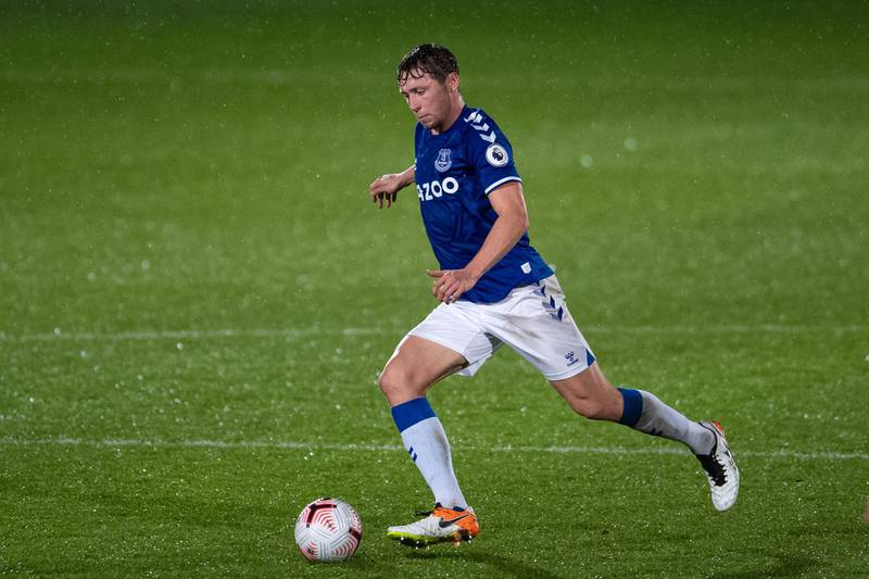 SOUTHPORT, ENGLAND - OCTOBER 19: Matthew Pennington of Everton controls the ball during the Premier League 2 match between Everton and Tottenham Hotspur at Merseyrail Community Stadium on October 19, 2020 in Southport, England. (Photo by Emma Simpson - Everton FC/Everton FC via Getty Images )