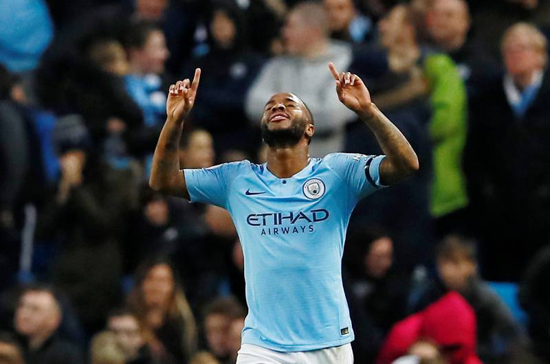"""Soccer Football - Premier League - Manchester City v Southampton - Etihad Stadium, Manchester, Britain - November 4, 2018  Manchester City's Raheem Sterling celebrates scoring their fifth goal   Action Images via Reuters/Jason Cairnduff  EDITORIAL USE ONLY. No use with unauthorized audio, video, data, fixture lists, club/league logos or """"live"""" services. Online in-match use limited to 75 images, no video emulation. No use in betting, games or single club/league/player publications.  Please contact your account representative for further details."""