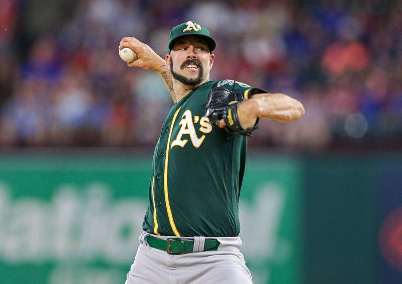 Sep 14, 2019; Arlington, TX, USA; Oakland Athletics starting pitcher Mike Fiers (50) throws against the Texas Rangers at Globe Life Park in Arlington. Mandatory Credit: Andrew Dieb-USA TODAY Sports/Reuters