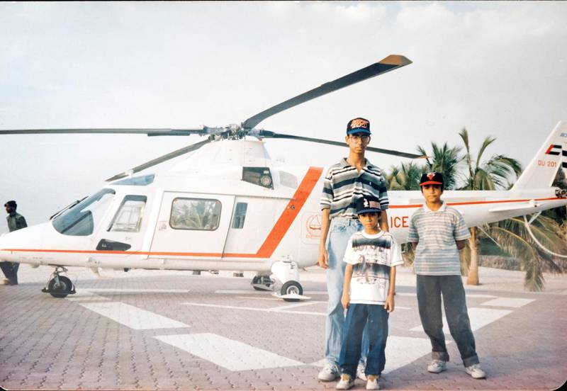 Dubai, United Arab Emirates - May 20, 2019: Copy picture. Brothers Ismail Noor, 14 (R), Ayaz Noor, 10 (M) and Imtiaz Noor 19 in Jumeirah. An Instagram account tells the stories and photos of South Asians in Gulf, and Khaleejis in South Asia. Monday the 20th of May 2019. Dubai. Chris Whiteoak / The National