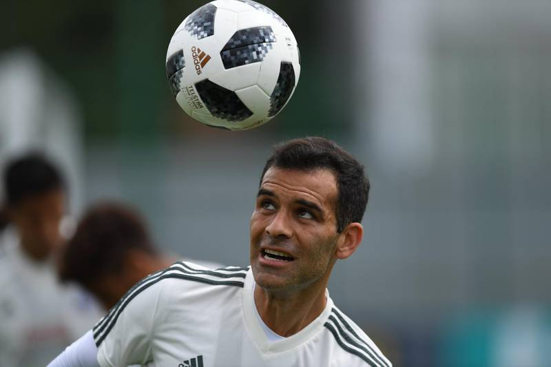 Mexico's midfielder Rafael Marquez attends a training session at the Novogorsk training center, outside Moscow, on June 24, 2018, during the Russia 2018 World Cup football tournament. / AFP / YURI CORTEZ