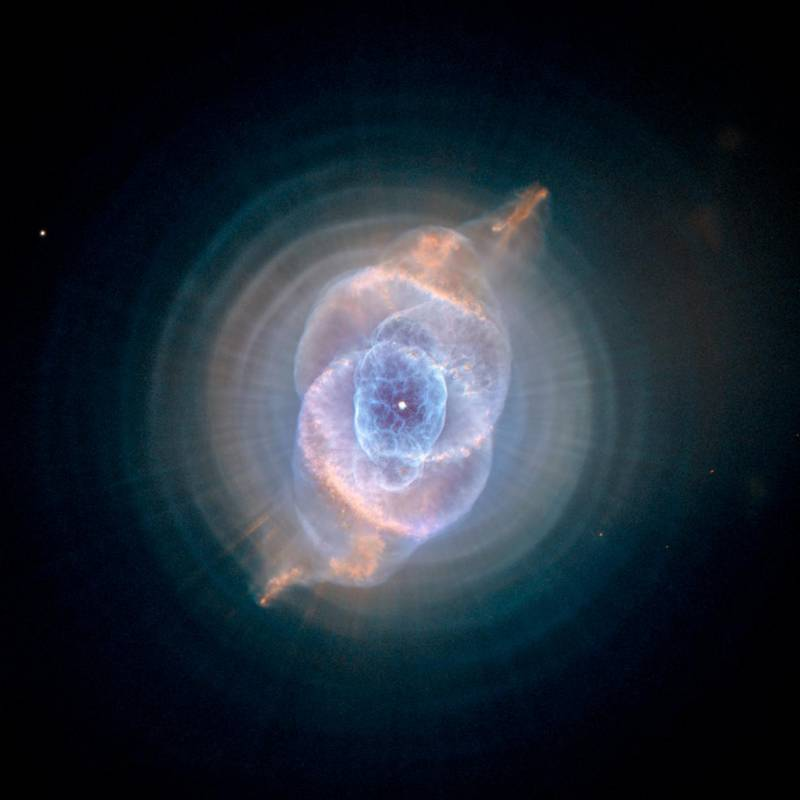 The Cat's Eye Nebula, one of the first planetary nebulae discovered, also has one of the most complex forms known to this kind of nebula. Eleven rings, or shells, of gas make up the Cat's Eye. NASA