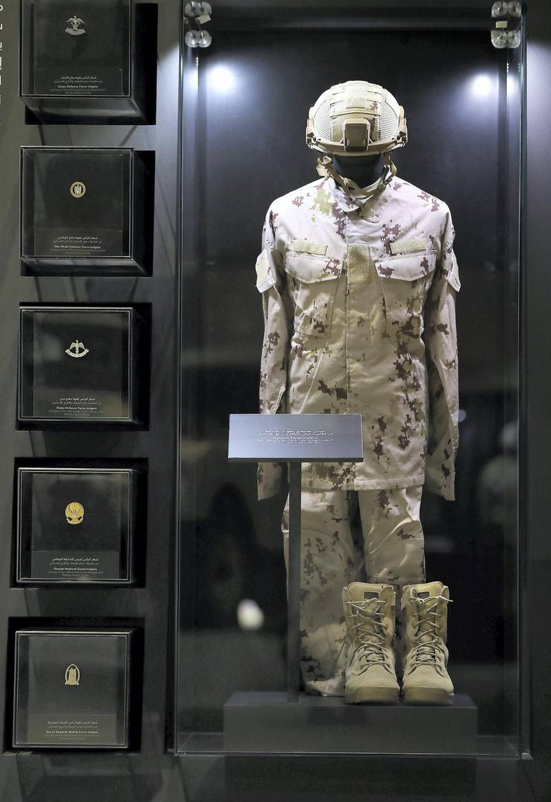 DUBAI , UNITED ARAB EMIRATES , JAN 25 – 2018 :- Defence Force Uniform on display at the UAE Armed Forces Exhibition held at Etihad Museum in Dubai. (Pawan Singh / The National) For Arts & Life. Story by John Dennehy