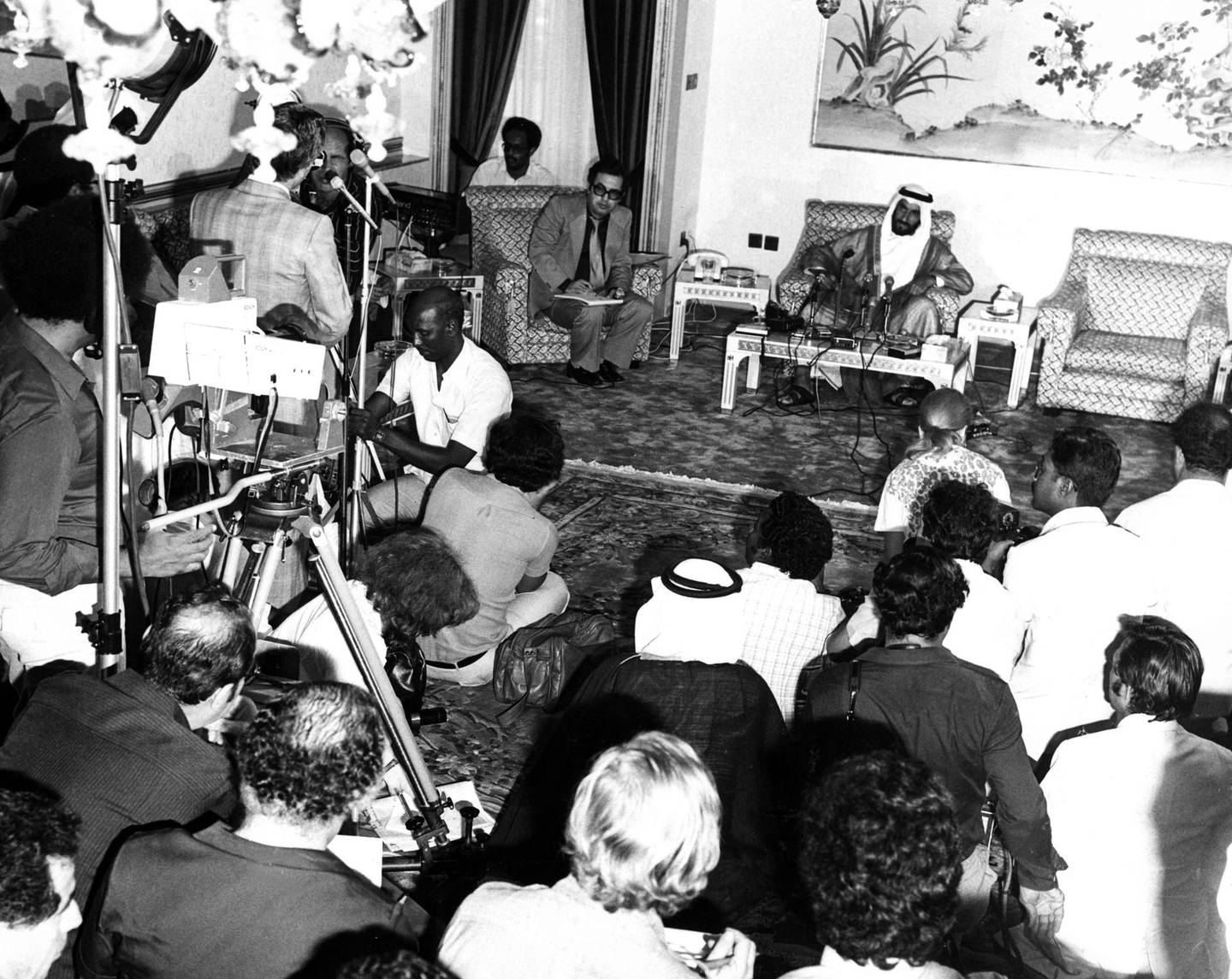Sheikh Zayed Bin Sultan Al Nahyan at a press conference following the first GCC Summit in Abu Dhabi, 1981  National Archives images supplied by the Ministry of Presidential Affairs to mark the 50th anniverary of Sheikh Zayed Bin Sultan Al Nahyan becaming the Ruler of Abu Dhabi. *** Local Caption ***  60.jpg