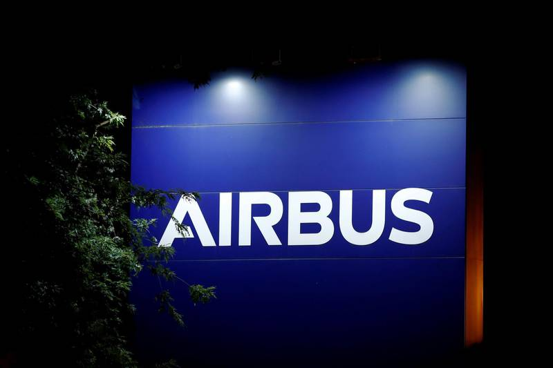 FILE PHOTO: A logo of Airbus is seen at the entrance of its factory in Blagnac near Toulouse, France, July 2, 2020. REUTERS/Benoit Tessier/File Photo
