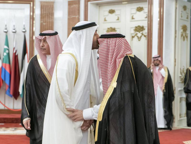 MECCA, SAUDI ARABIA - May 30, 2019: HH Sheikh Mohamed bin Zayed Al Nahyan, Crown Prince of Abu Dhabi and Deputy Supreme Commander of the UAE Armed Forces (2nd R), greets HM King Salman Bin Abdulaziz Al Saud of Saudi Arabia and Custodian of the Two Holy Mosques (R), during the UAE delegation to the Gulf Cooperation Council (GCC) emergency summit in Mecca.  ( Rashed Al Mansoori / Ministry of Presidential Affairs ) ---