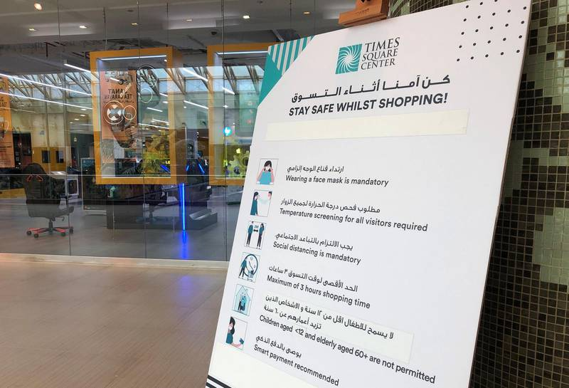 Dubai, United Arab Emirates - Reporter: N/A. Stock. General view the safety rules at Times Square Center. Thursday, June 11th, 2020. Dubai. Chris Whiteoak / The National