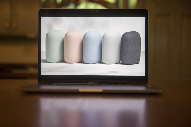 The new Nest Audio smart speaker is unveiled during the Google Launch Night In virtual event seen on a laptop computer in Tiskilwa, Illinois, U.S., on Wednesday, Sept. 30, 2020. Alphabet's Google launched a Nest Audio speaker and a new Chromecast TV device as it seeks to hold off Amazon from continuing to gain share in the smart home space. Photographer: Daniel Acker/Bloomberg