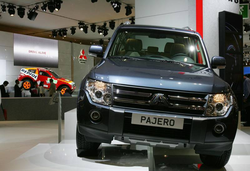 A Japanese car maker Mitsubishi Pajero is presented at the Paris Motor Show 28 September 2006. Over the course of the two-week show, which runs from September 30 to October 15, more than 65 new models are to be given their world premiere in front of more than one million people who attend each year.  AFP PHOTO  JOEL SAGET (Photo by Joël SAGET / AFP)