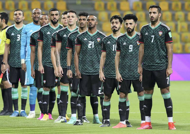 The UAE team line up before the game between the UAE and Indonesia in the World cup qualifiers at the Zabeel Stadium, Dubai on June 11th, 2021. Chris Whiteoak / The National.  Reporter: John McAuley for Sport