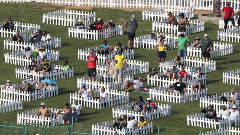An image that illustrates this article T20 World Cup: Family 'pods' at Zayed Cricket Stadium have internet abuzz