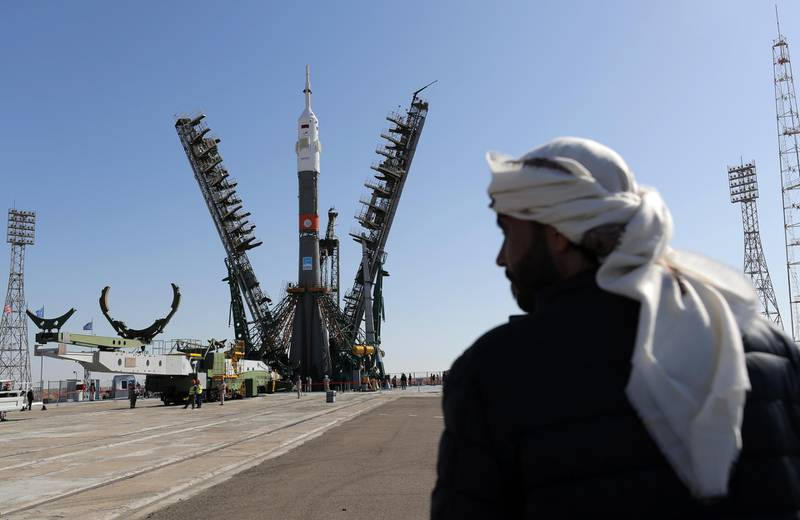 epa07863316 The Soyuz booster rocket FG with Soyuz MS-15 spacecraft is installed on the launch pad at the Baikonur Cosmodrome, Kazakhstan, 23 September 2019. The launch of the mission of members of the International Space Station (ISS) expedition 61/62, UAE astronaut Hazza Al Mansouri, Roscosmos cosmonaut Oleg Skripochka and NASA astronaut Jessica Meir is scheduled on 25 September from the Baikonur Cosmodrome. Mansouri will be the first Emirati in space.  EPA/MAXIM SHIPENKOV