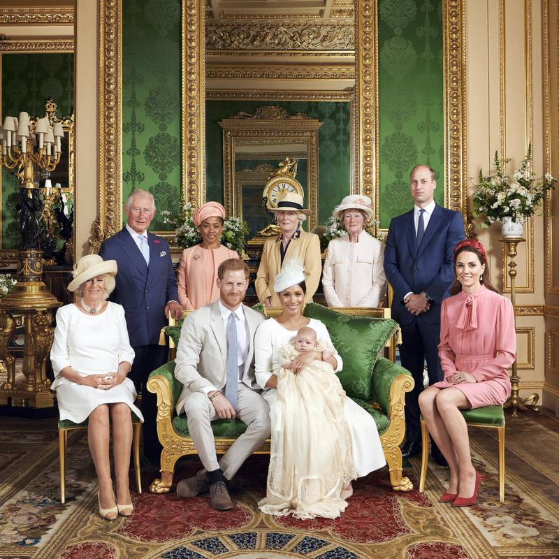 This official christening photograph released by the Duke and Duchess shows Prince Harry, Duke of Sussex and Meghan, Duchess of Sussex with their son, Archie and the Duchess of Cornwall, Britain's Prince Charles, Prince of Wales, Ms Doria Ragland, Lady Jane Fellowes, Lady Sarah McCorquodale, Prince William, Duke of Cambridge and Catherine, Duchess of Cambridge in the Green Drawing Room at Windsor Castle, near London, Britain July 6, 2019. Chris Allerton/Pool via REUTERS   NEWS EDITORIAL USE ONLY. NO COMMERCIAL USE. NO MERCHANDISING, ADVERTISING, SOUVENIRS, MEMORABILIA or COLOURABLY SIMILAR. NOT FOR USE AFTER AFTER 31 DECEMBER, 2019 WITHOUT PRIOR PERMISSION FROM ROYAL COMMUNICATIONS. NO CROPPING. Copyright in this photograph is vested in The Duke and Duchess of Sussex. No charge should be made for the supply, release or publication of the photograph. The photograph must not be digitally enhanced, manipulated or modified in any manner or form and must include all of the individuals in the photograph when published.