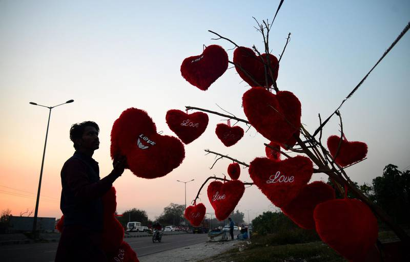An Indian vendor adjusts heart-shaped pillows hanging from a tree at a roadside stall ahead of Valentine's Day in Jalandhar on February 9, 2018. / AFP PHOTO / Shammi MEHRA