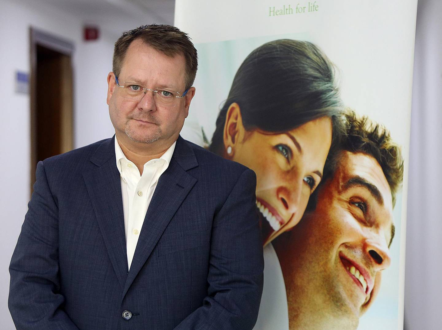 Dubai, United Arab Emirates-May, 18, 2016: Mark Adams, CEO, Anglo Arabian Helathcare pose during the interview at his office in Healthcare City in Dubai . ( Satish Kumar / The National  )  ID No: 97781 Section: News Reporter:Nicholas Webster *** Local Caption ***  SK-MarkAdams-18052016-07.jpg